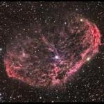 Fig.14 - La nebulosa NGC 6888 Crescent Nebula nella costellazione del Cigno. Al suo interno la stella Wolf Rayet WR 136