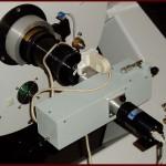 Fig.9 - Lo spettrografo a prisma collocato al fuoco diretto del Ritchey – Chretien da 500mm f/8 di Libbiano. Per le riprese è utilizzato il CCD Starlight SXVF-H5