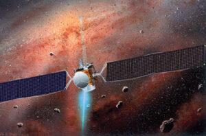 Una delle caratteristiche più peculiari della missione Dawn è legata alla propulsione assicurata da un motore a ioni capace di sviluppare una spinta leggera ma costante, consumando alla massima potenza soltanto 300 g di propellente (xeno) al giorno.