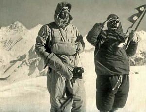 Cho Oyu First Ascent - Herbert Tichy and Pasang Dawa Lama on Cho Oyu Summit Oct. 19 1954