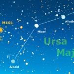 """La cartina del mese è centrata sulla regione orientale dell'Orsa Maggiore, dove a 5,5° di distanza dalle ultime due stelle della """"coda"""" si trova la grande galassia a spirale M101, accompagnata dalla piccola NGC 5474."""