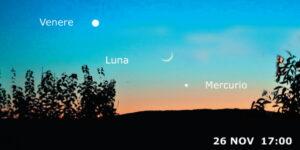 Congiunzione tra Venere Mercurio e Luna