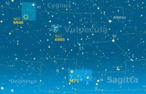 La cartina del mese abbraccia le piccole costellazioni della Sagitta e della Vulpecula, nelle quali si trovano gli oggetti descritti nella rubrica: il globulare M71 e gli ammassi aperti NGC 6885 e 6940, la cui posizione è indicata dai circoletti gialli.
