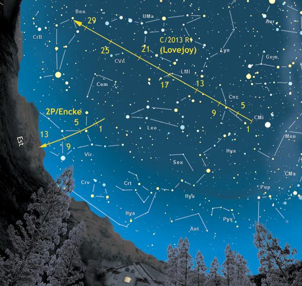 comete - cartina lovejoy encke