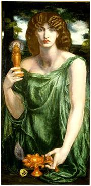 La divinità Mnemosine in un dipinto di Dante Gabriel Rossetti