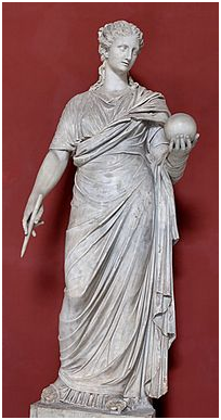 Urania, in una statua conservata ai Musei Vaticani