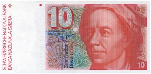 Leonhard Euler, spesso italianizzato in Eulero, in una banconota svizzera
