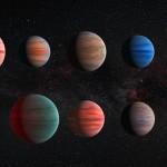 i dieci esopianeti studiati da Hubble e Sptizer. Impressione artistica.