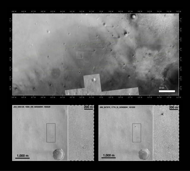 Schiaparelli, il sito di impatto su Marte
