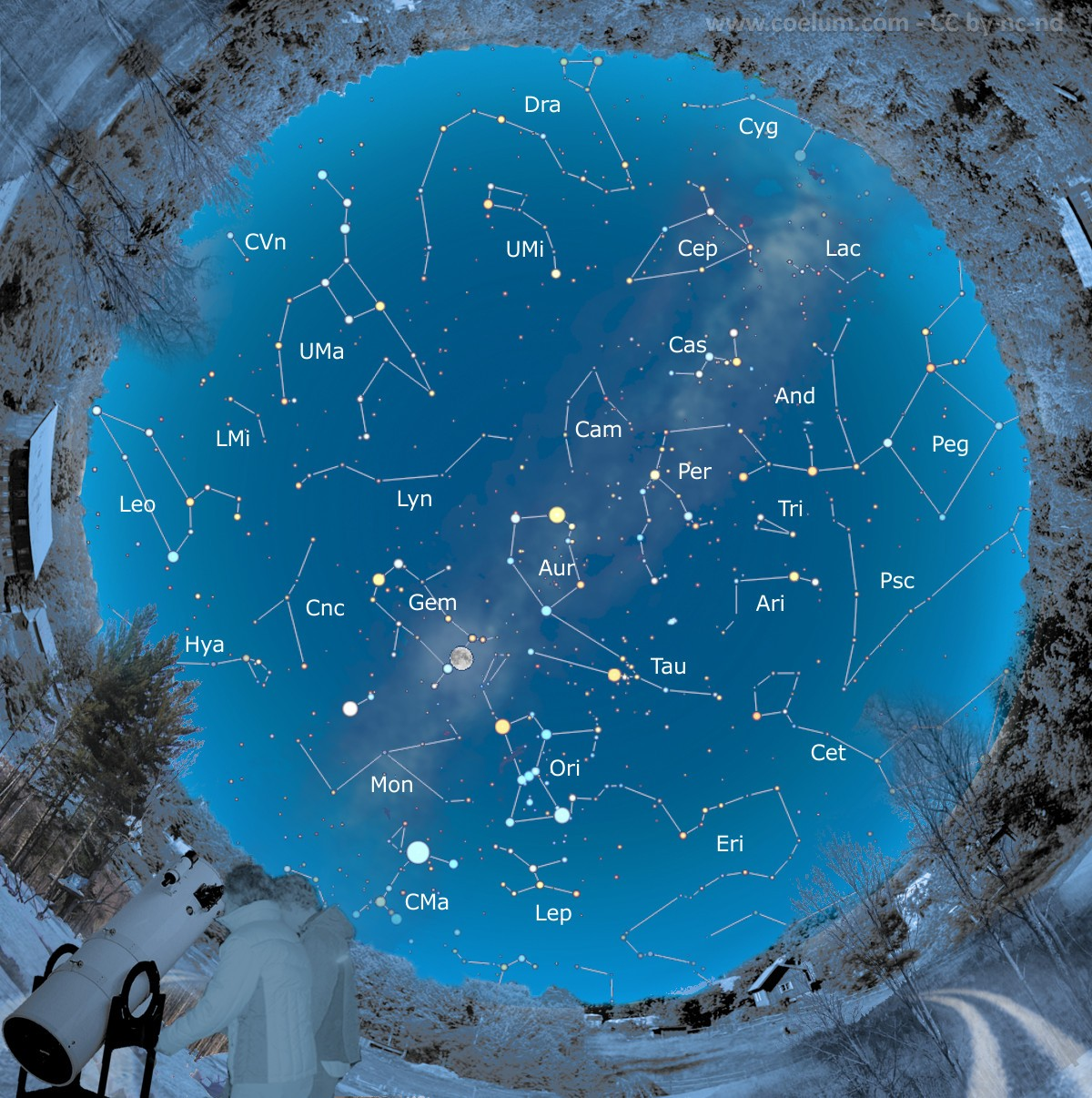 cartina del cielo di dicembre 2016