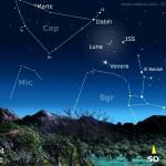 Congiunzione Luna, Venere e Dabih con passaggio della ISS!