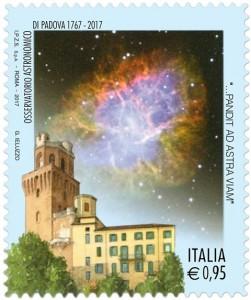 Francobollo celebrativo dei 250 anni dell'Osservatorio Astronomico di Padova.