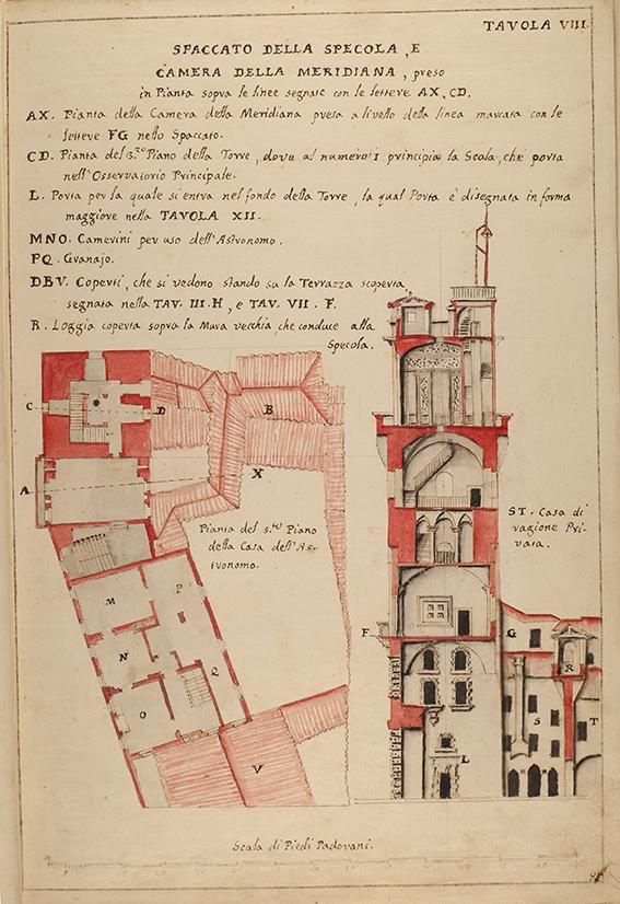 Specola di Padova, spaccato. Progetto dell'Architetto Cerato