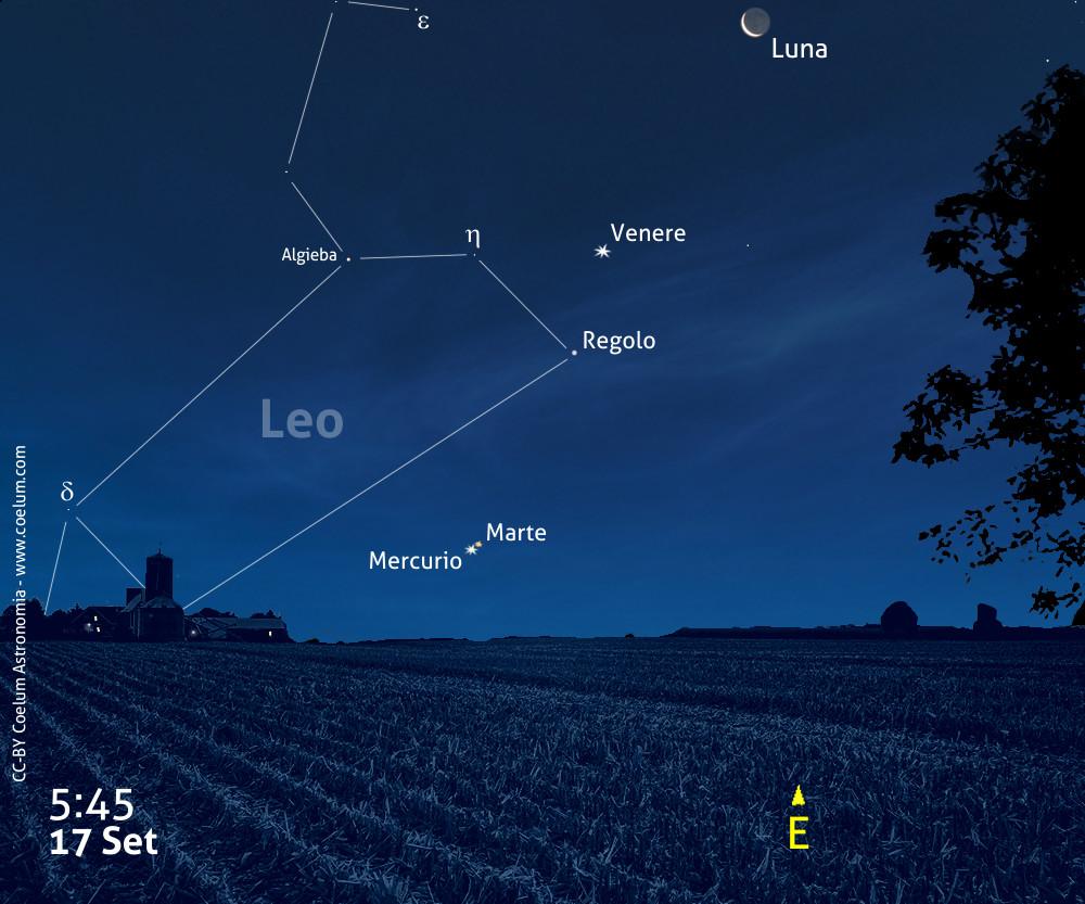 congiunzione Marte Mercurio settembre 2017