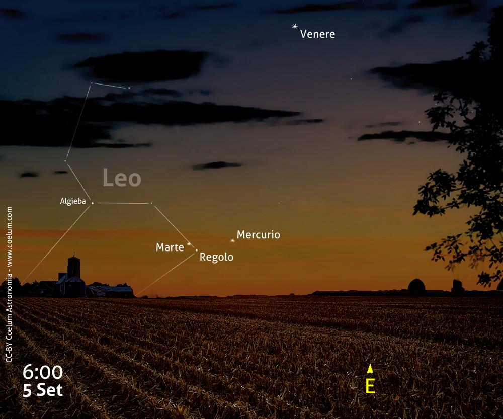 congiunzione Regolo Marte Mercurio