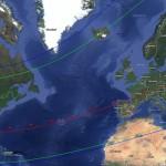 Cartina delle zone interessate dall'occultazione di Tritone