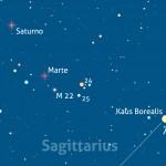 Saturno e Marte alla minima distanza. Special guest: M 22