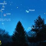 Configurazione ampia ma suggestiva con falce di Luna, Aldebaran, Venere e Pleiadi