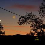 Uno sguardo a Giove vicino a una sottile falce di Luna