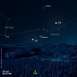 Due sere con Luna, Pleiadi (M 45) e Aldebaran