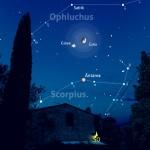 Luna, Giove e più lontano Antares