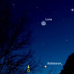 Falce di Luna, Venere e Aldebaran a campo largo