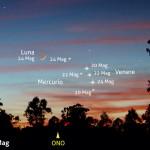 Venere e Mercurio al chiaro di una sottile falce di Luna