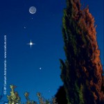 Luna e Venere nel cielo del mattino