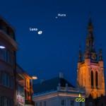 Luna e Marte nel cielo della sera