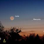 La sottile falce di Luna accompagnata da Giove e Mercurio